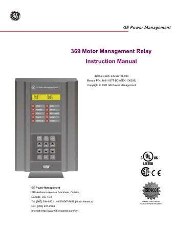 General Electric Ge 369 Multilin Motor Management Relay