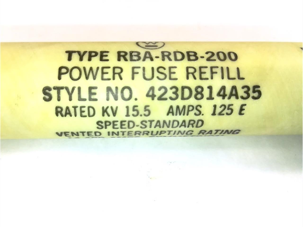 423D814A35 125E Westinghouse BRA-RDB-200 POWER FUSE ELEMENT E RATED FUSE, STANDARD SPEED