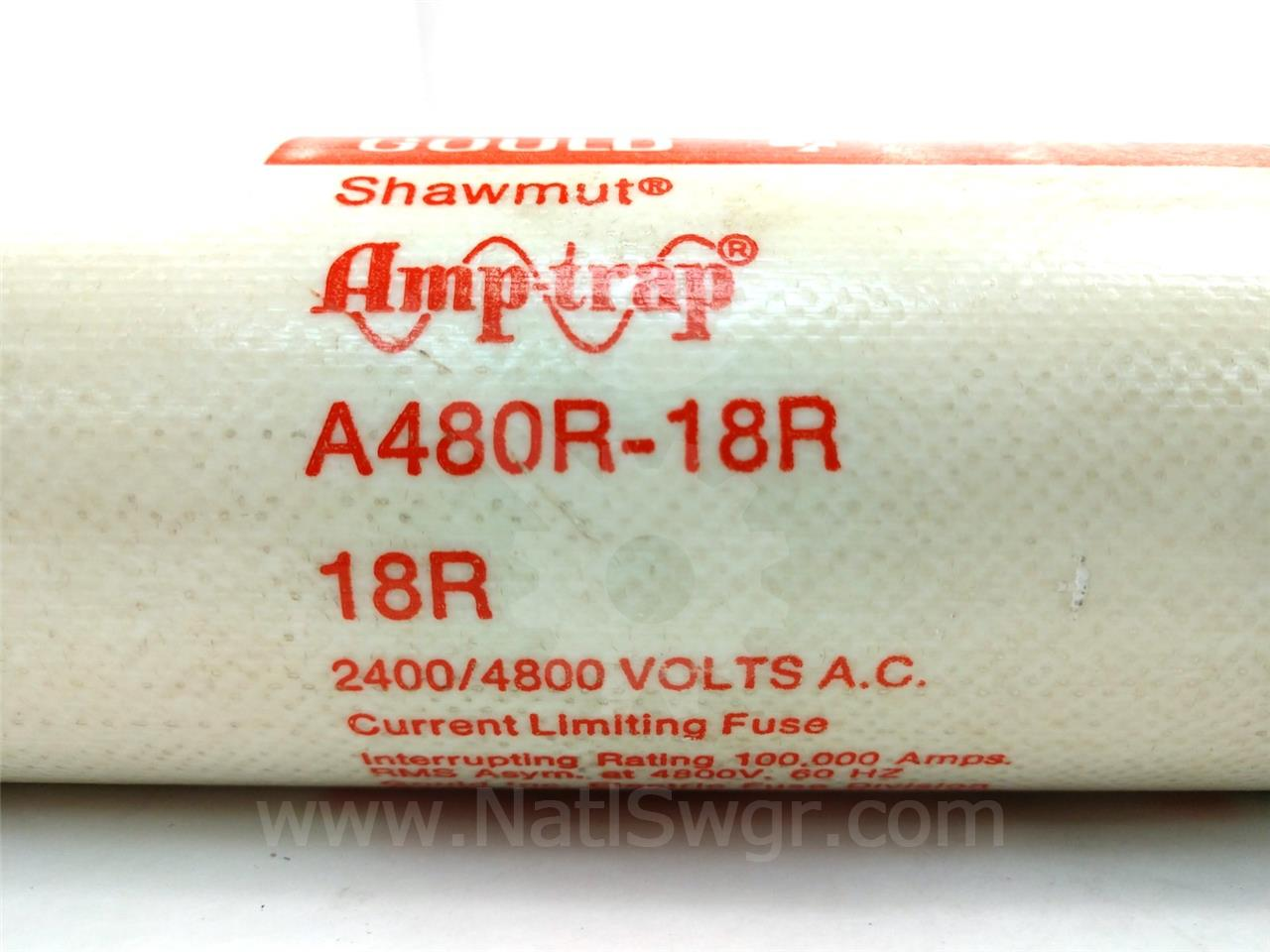 A480R-18R 18R SHAWMUT AMP-TRAP POWER FUSE 5KV R RATED 390A MOTOR STARTER FUSE, DOUBLE BARREL
