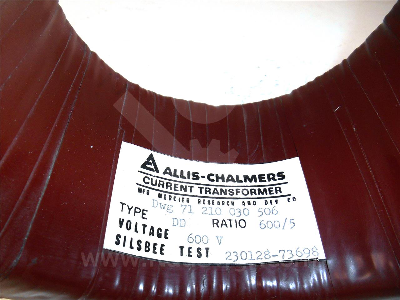 71-210-030-506 Allis Chalmers CURRENT TRANSFORMER, 600:5 DD, WINDOW, 5KV
