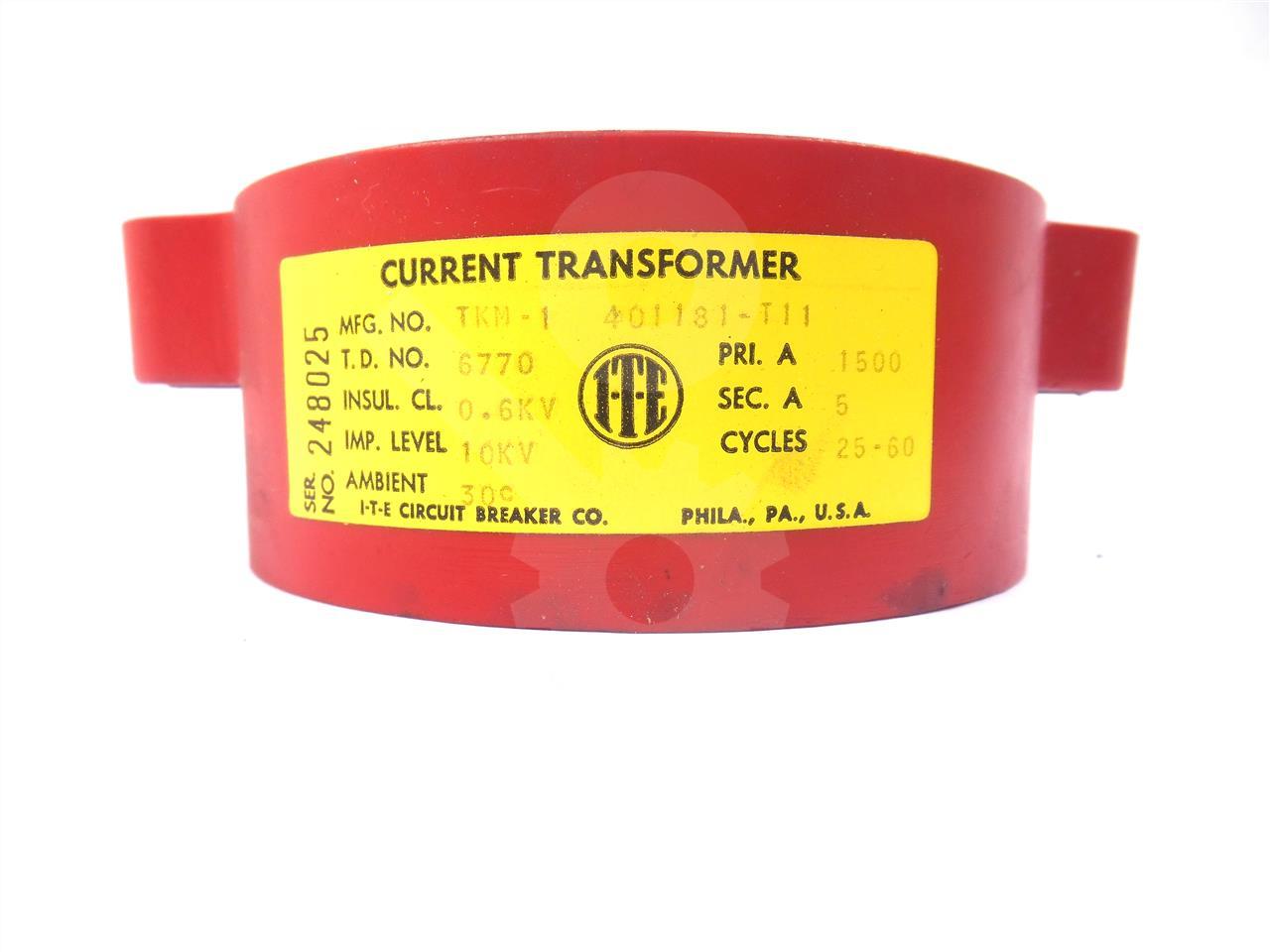 401181-T11 ITE TKM-1 CURRENT TRANSFORMER 1500:5 FOR K-LINE SWITCHGEAR