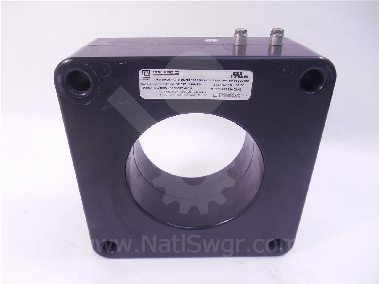 110R-601 Square D CURRENT TRANSFORMER 600:5 600A, 600V, 10KV BIL C50