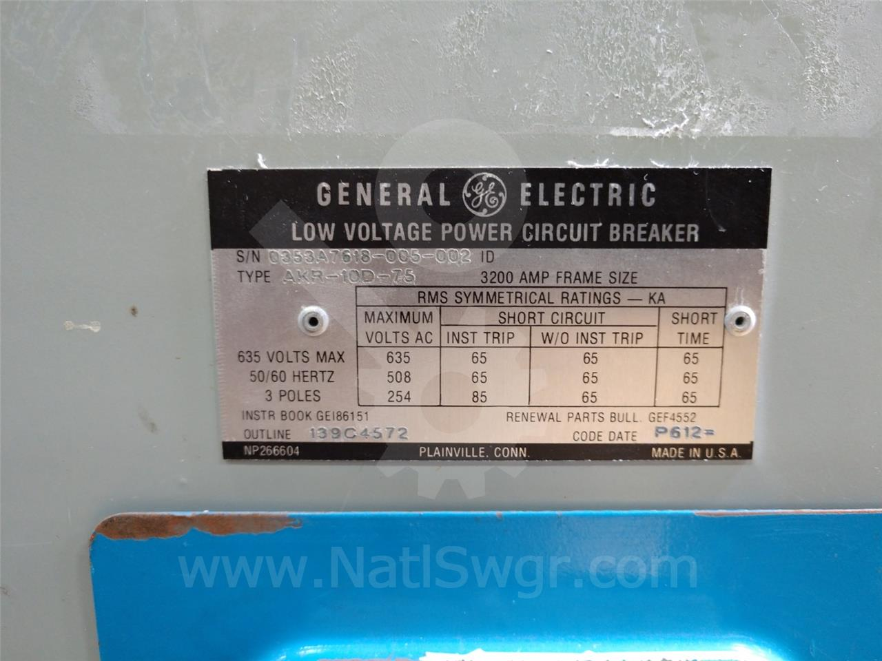 General Electric AKR-_D-75 3200A GE AKR-10D-75 MO/DO