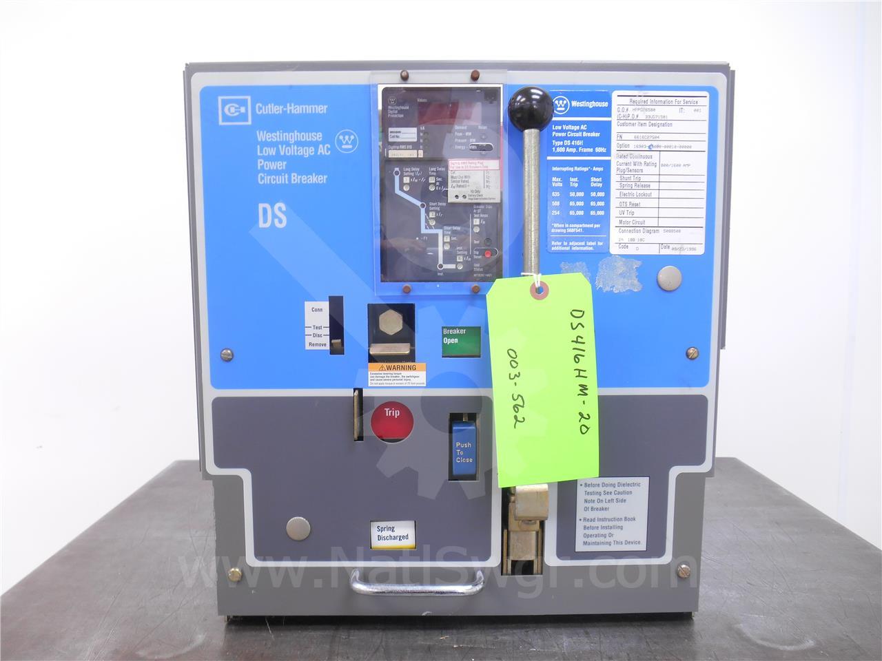 DS-416H 1600A Cutler-Hammer MO/DO RMS 810 LSI, 800A RP, 1600A CT, PTM