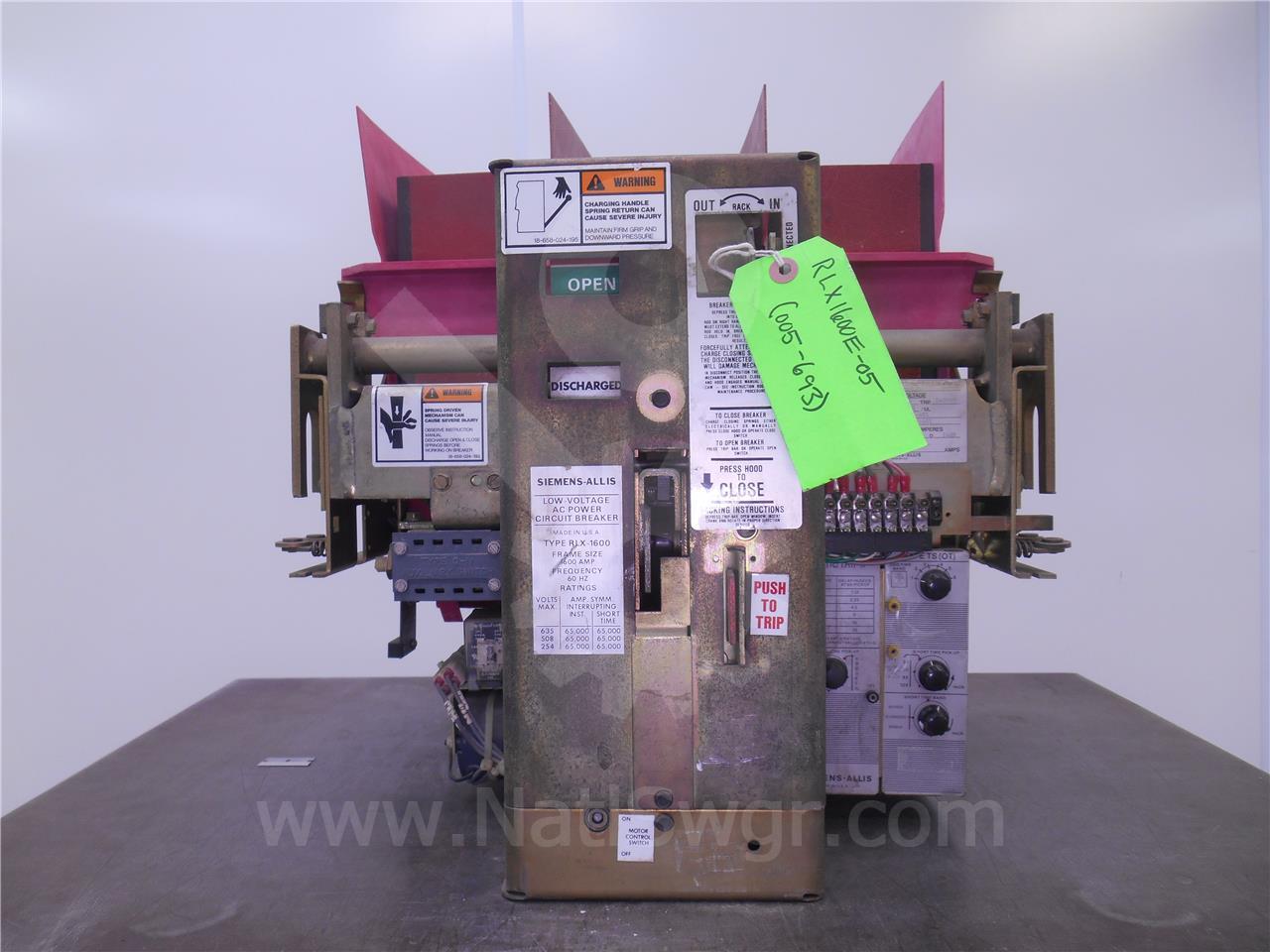 RLX-1600 1600A Siemens / Allis Chalmers EO/DO 240VAC CONTROL, STII TS OT, 1600A CT'S