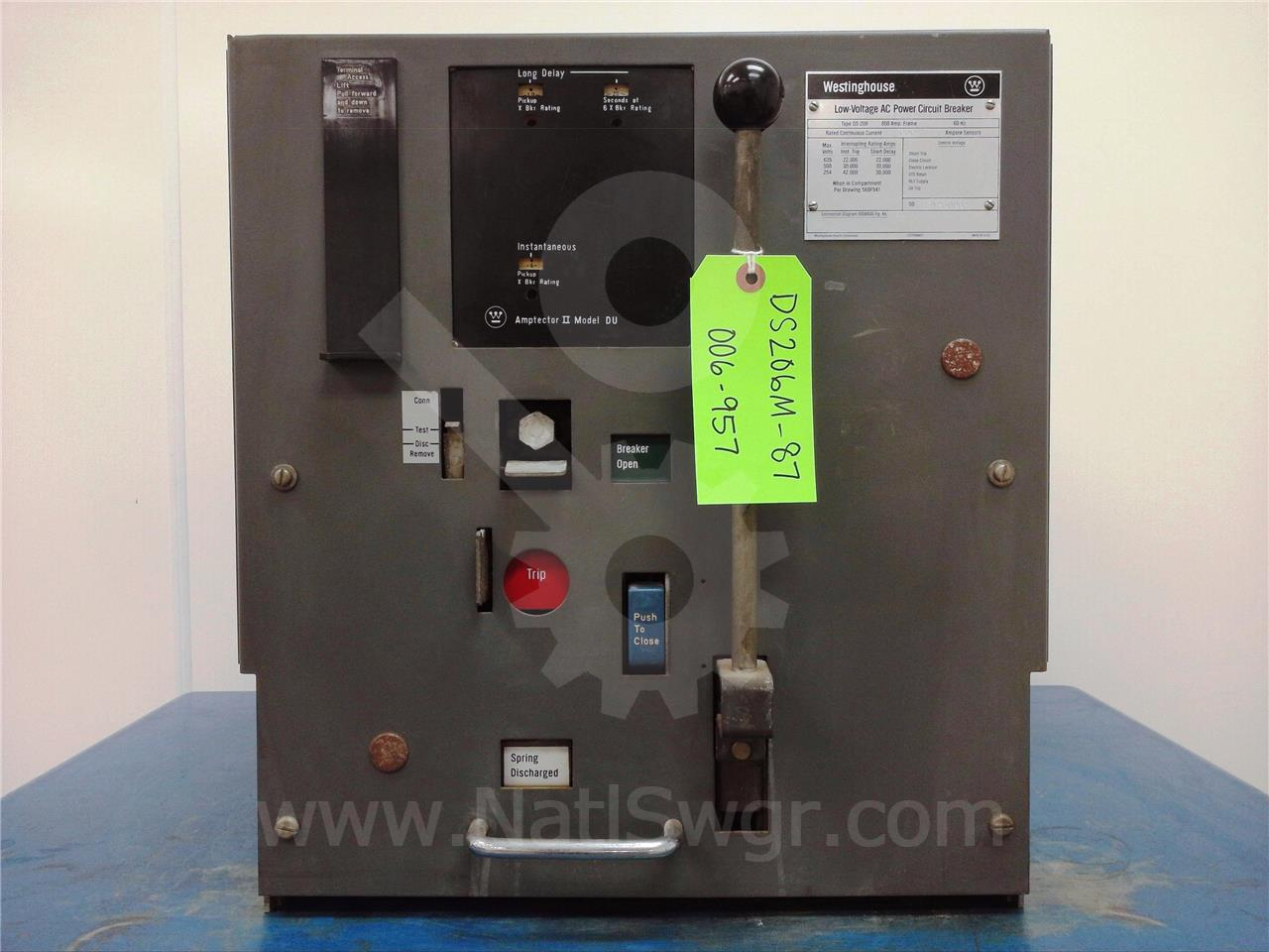 DS-206 800A Westinghouse MO/DO AMPTECTOR II DU LI, 600A CT