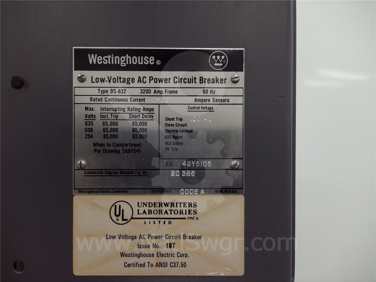 DS-632 3200A Westinghouse MO/DO
