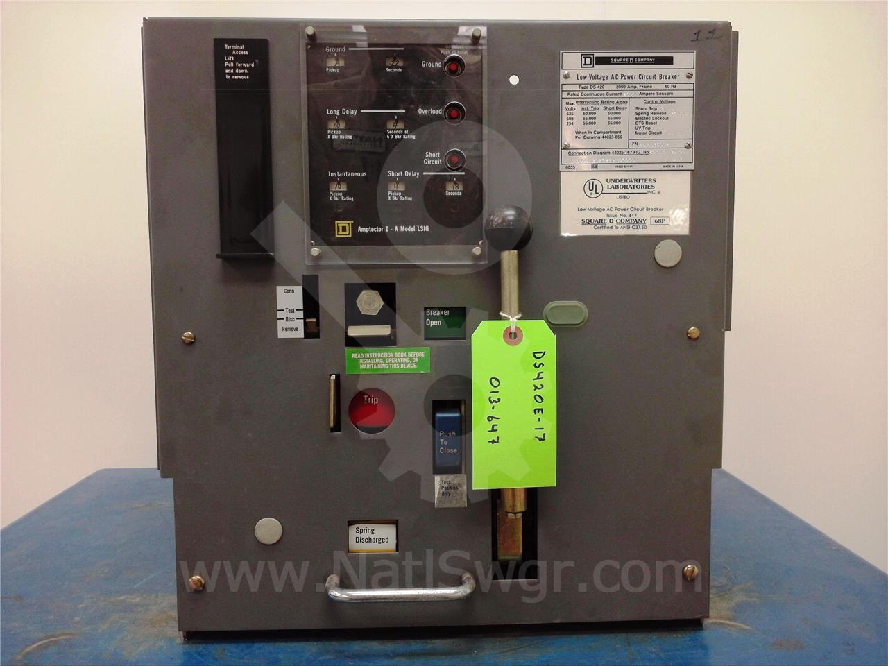 DS-420 2000A Square D/SqD EO/DO 125VDC CONTROL, AMPTECTOR I-A LSIG, 2000A CT