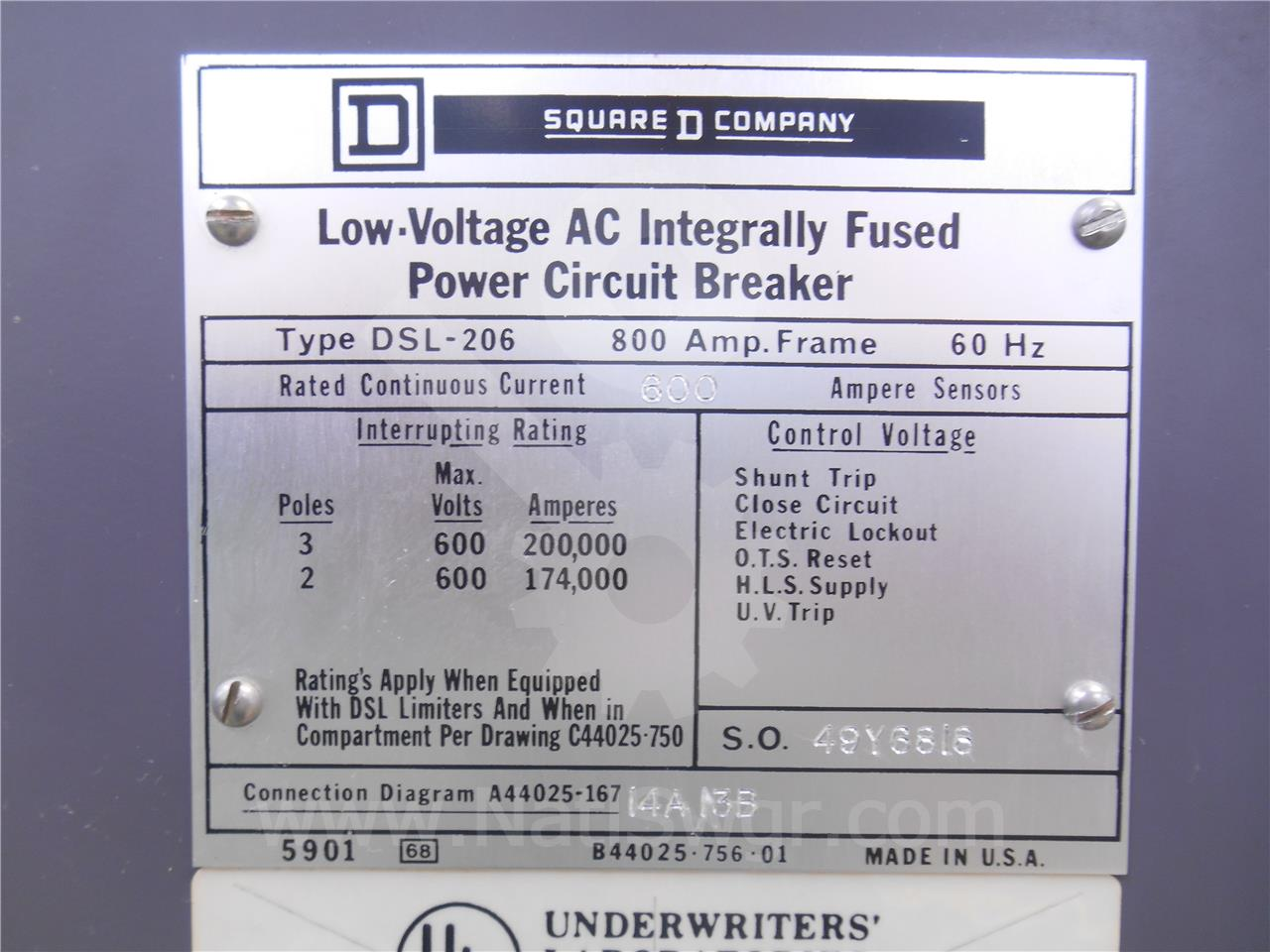 Dsl 206 800a Square D Sqd Mo Do Amptector Ii A Du Li 600a Ct Bfi Powerlogic Wiring Diagram