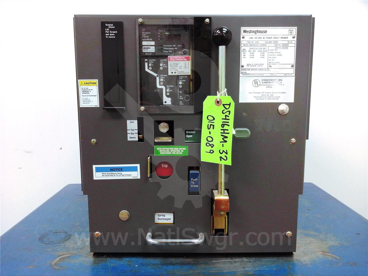 Westinghouse Cutler Hammer 1600a Wh Ds 416h Mo Do Eaton Shunt Trip Breaker Wiring Diagram With Push On
