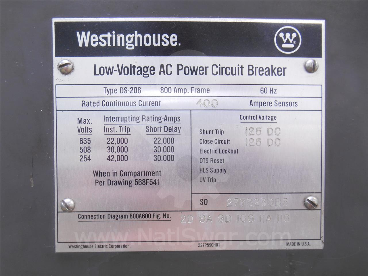 Westinghouse Cutler Hammer 800a Wh Ds 206 Eo Do Eaton Shunt Trip Breaker Wiring Diagram With Push On