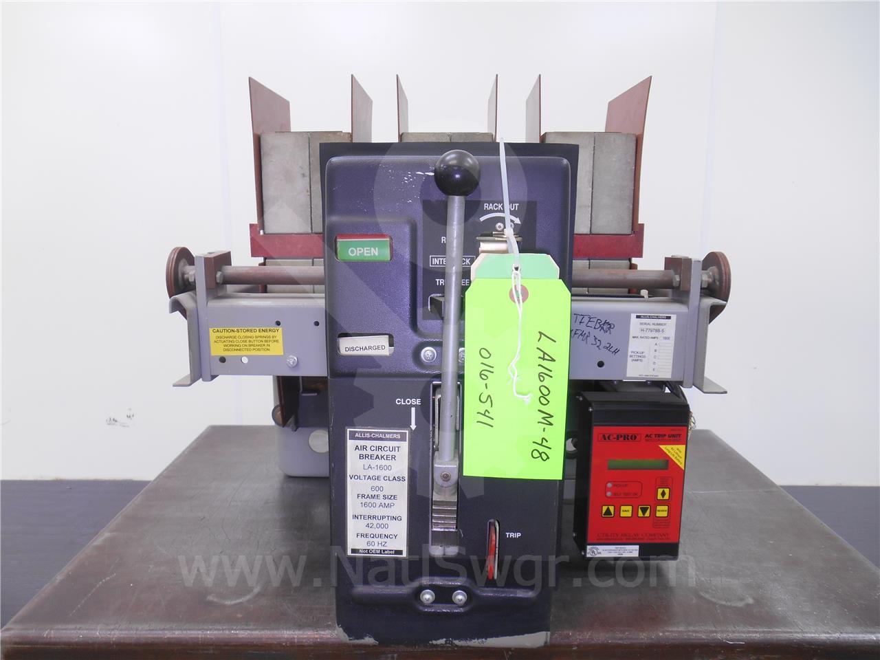 LA-1600 1600A Allis Chalmers MO/DO AC PRO LSIG, 800-1600A CT