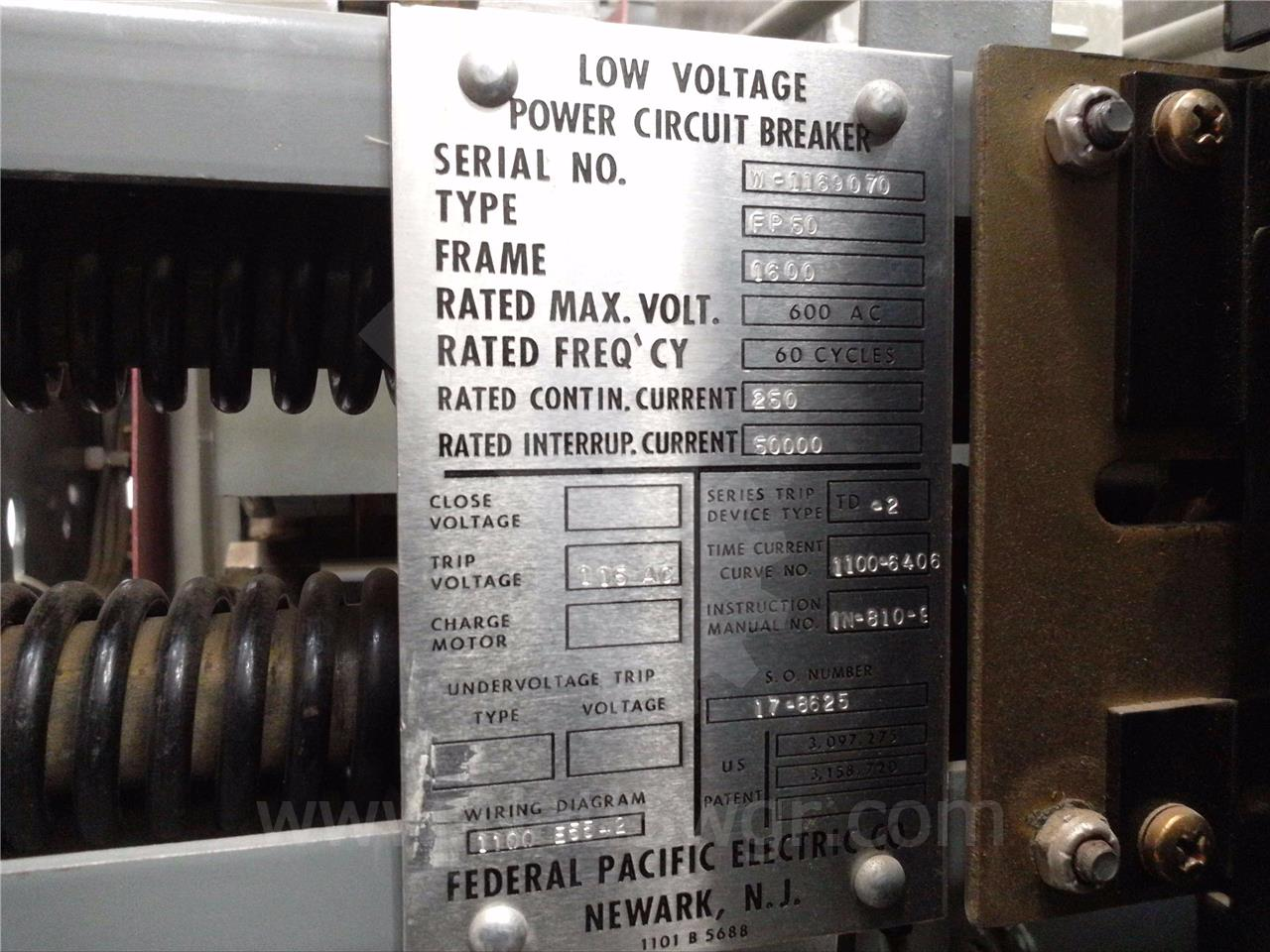 Fp 50 1600a Federal Pacific Pioneer Mo Do 120vac Shunt Solid State Relay Newark Trip 250a Td 2 Lsi