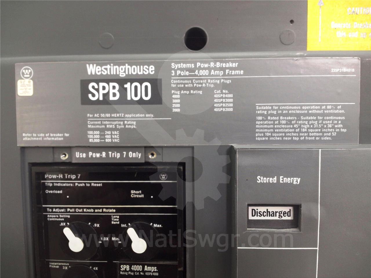 Spb100 4000a Westinghouse Spb 100 Mo Bi