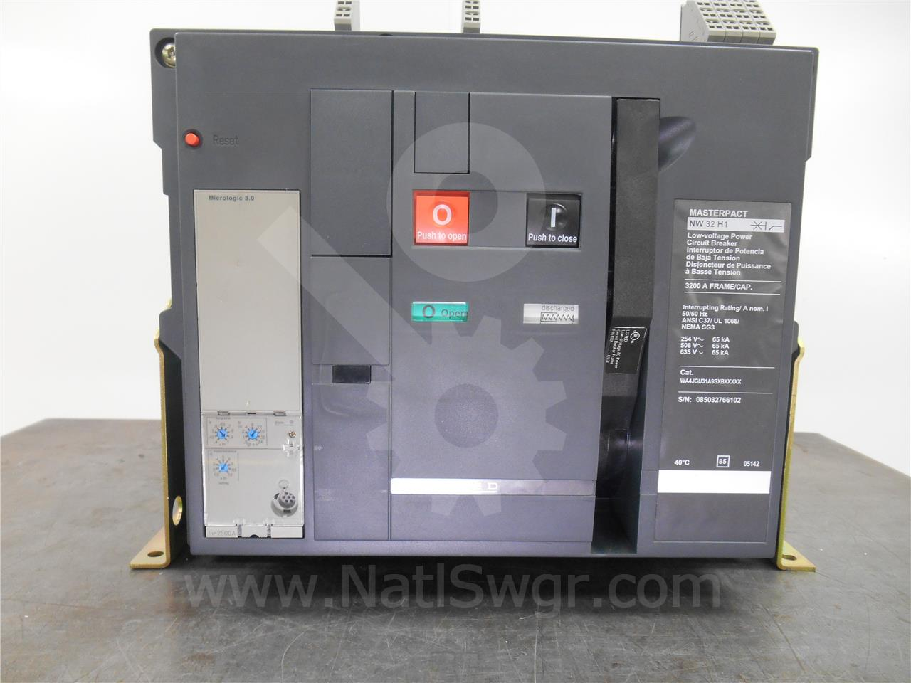Square D 3200A SQD MASTERPACT NW32 H1 MO/BI WA4JGU31A9SXBXX ... on square d electrical panel schedule template, square d powerlogic, square d sef, square d powerpact, square d altivar, square d la, square d multi 9, square d 100 amp panel template,
