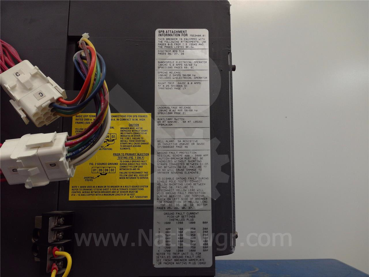 Westinghouse Cutler Hammer 1600a Wh Spb 100 Eo Bi Bab Shunt Trip Breaker Wiring Diagram Spb100
