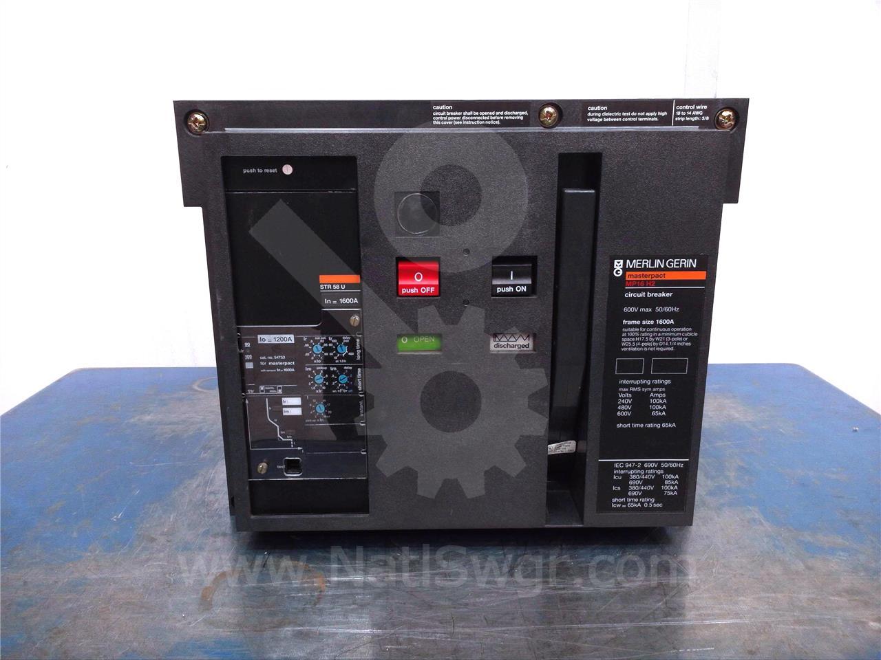 MP16 H2 1600A SQD Merlin Gerin MO/DO 120VAC TRIP, STR58U LSI, 1600A CT, 1200A RP