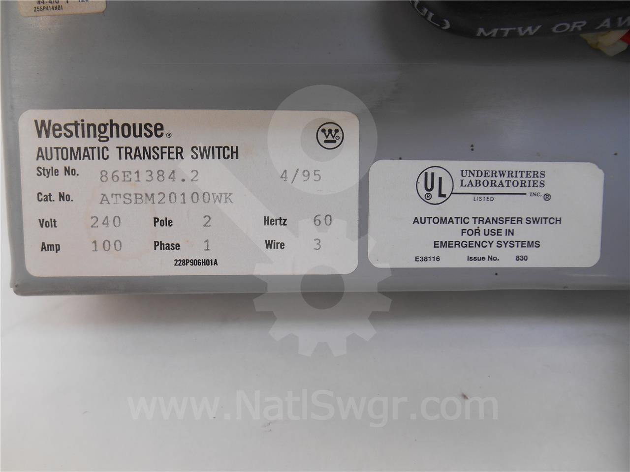 Westinghouse Cutler Hammer Wh Low Voltage Automatic