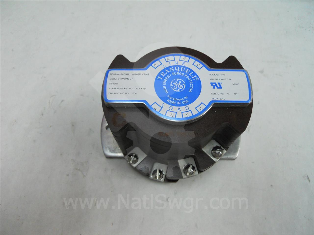 9L10KAL334NO GE / General Electric 480V TRANQUELL HIGH ENERGY SURGE / General Electric ARRESTOR 318V MCOV