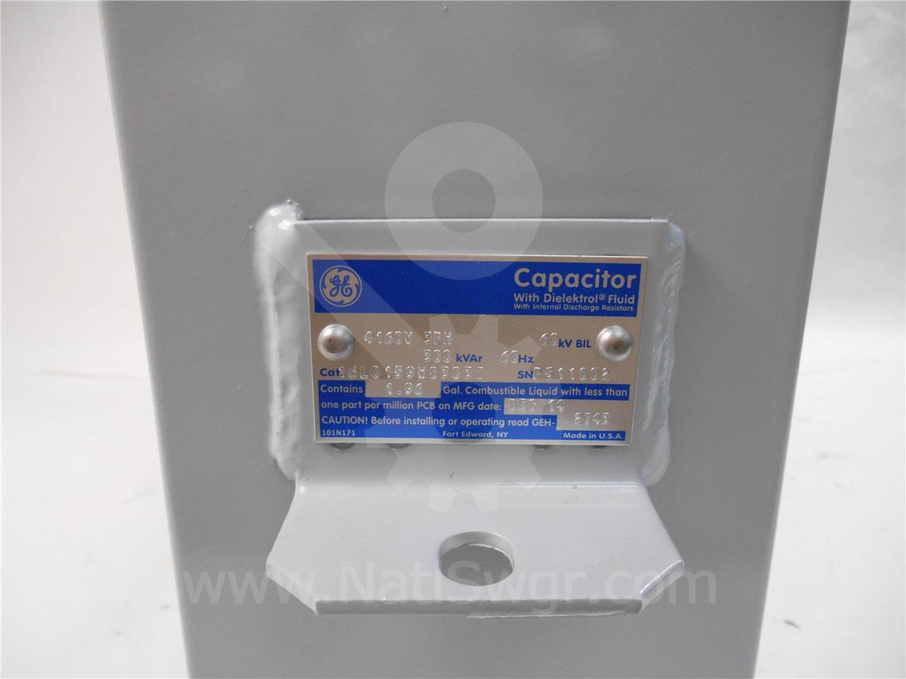 16L0159WS3037 GE / General Electric THREE PHASE CAPACITOR BANK NEW 4160V, 300KVAR, 60KV BIL