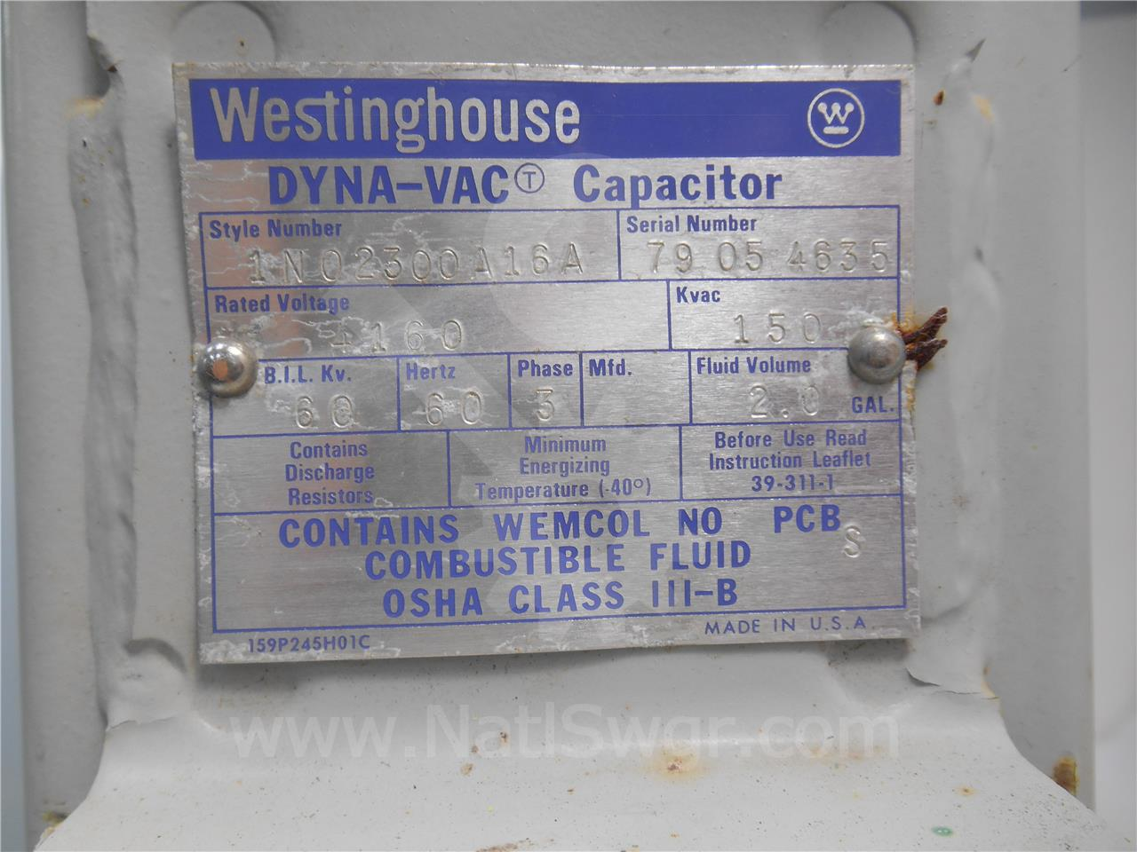 1N02300A16A Westinghouse THREE PHASE CAPACITOR BANK 4160V, 150KVAR, 60KV BIL