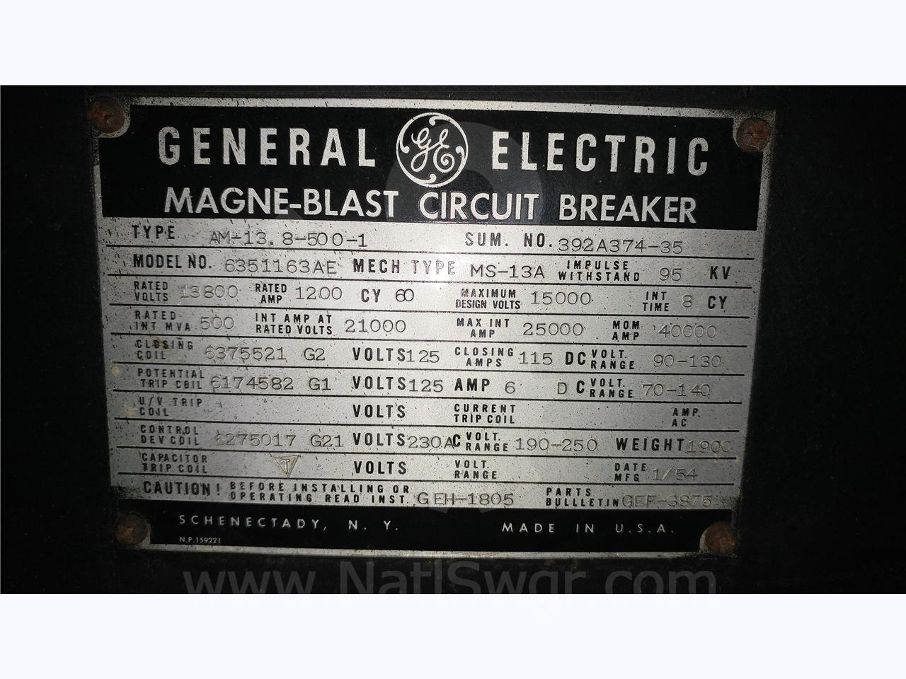 General Electric AM 13.8-500 1200A GE AM-13.8-500-1 MS-13A