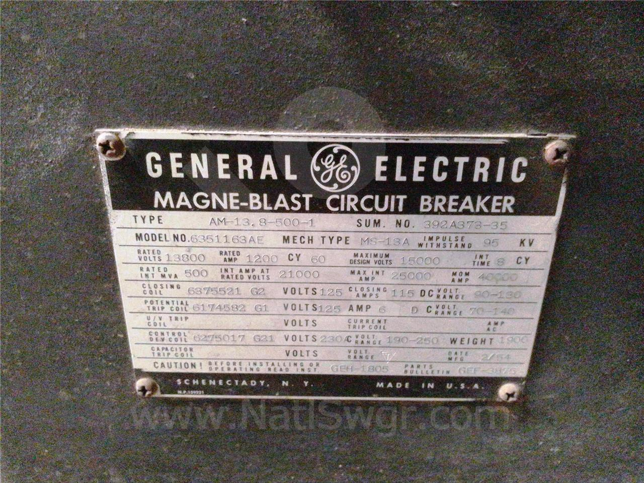 General Electric 1200A GE AM-13.8-500-3 MS-13A (AM 13.8-500)