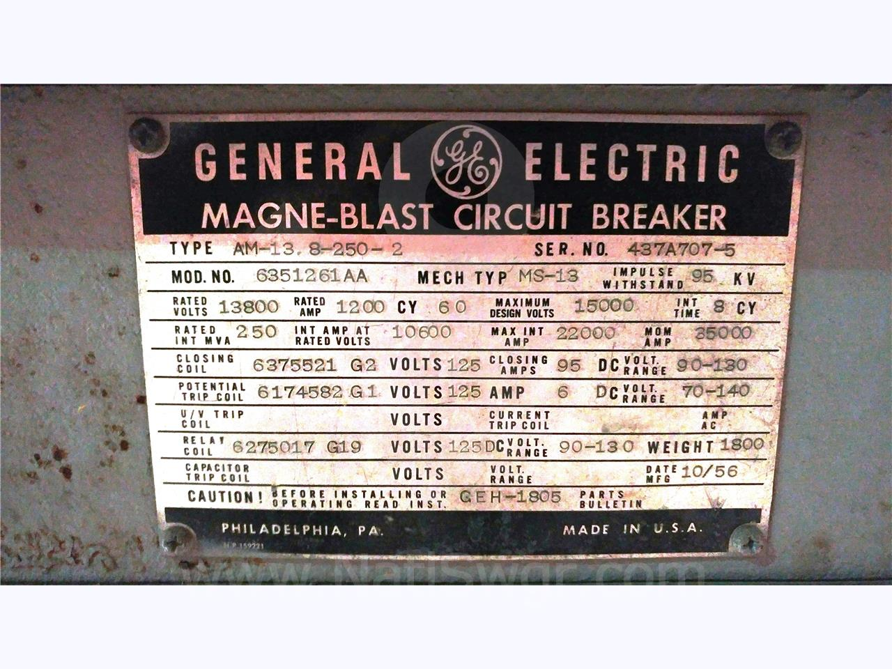 General Electric AM 13.8-250 1200A GE AM 13.8-250-2 MS-13