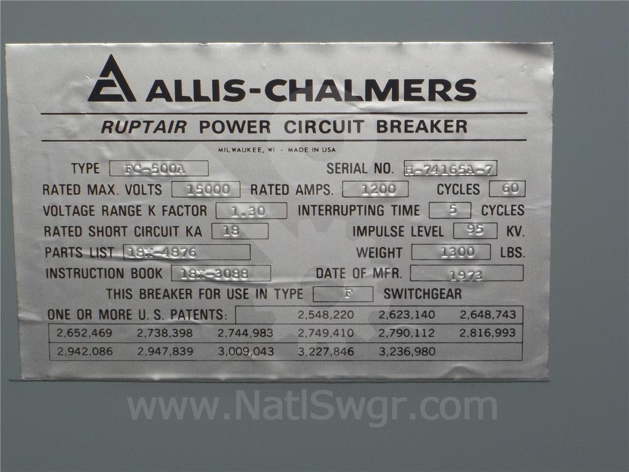 FC500 FC-500A 1200A Siemens / Allis Chalmers SE-3 F1 125VDC CONTROL