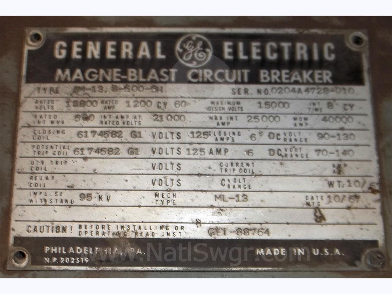 General Electric 1200A GE AM-13.8-500-5H ML-13 (AM 13.8-500)