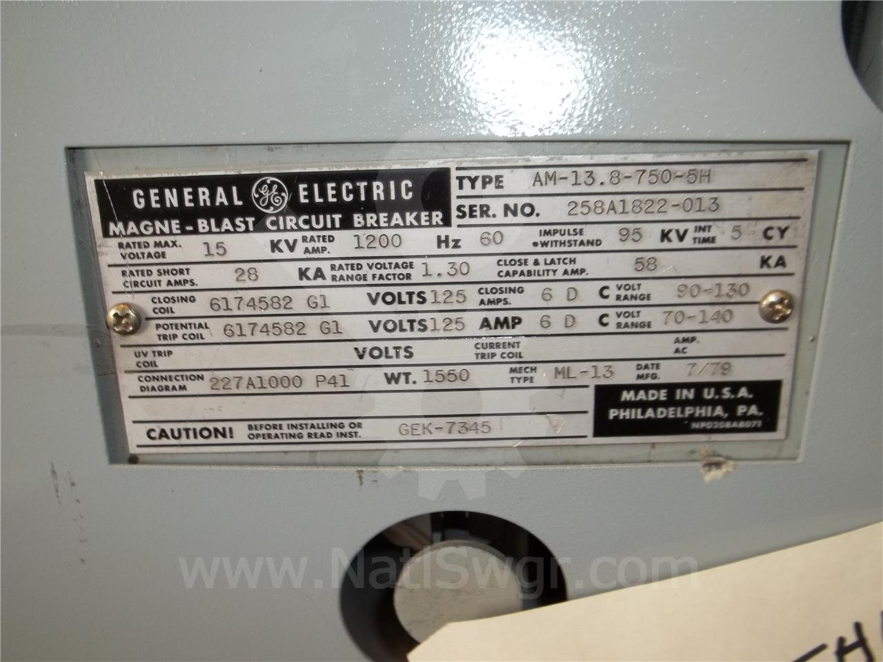 AM 13.8-750 AM-13.8-750-5H 1200A GE / General Electric ML-13 125VDC CONTROL