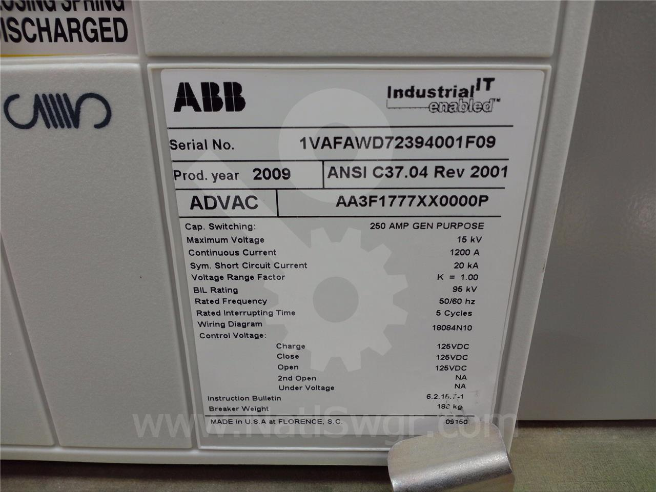 Abb Ite Bbc 1200a Advac Aa3f1777xx0000p Mod 3 2nc Wiring Diagram Mod3 125vdc Control Trip
