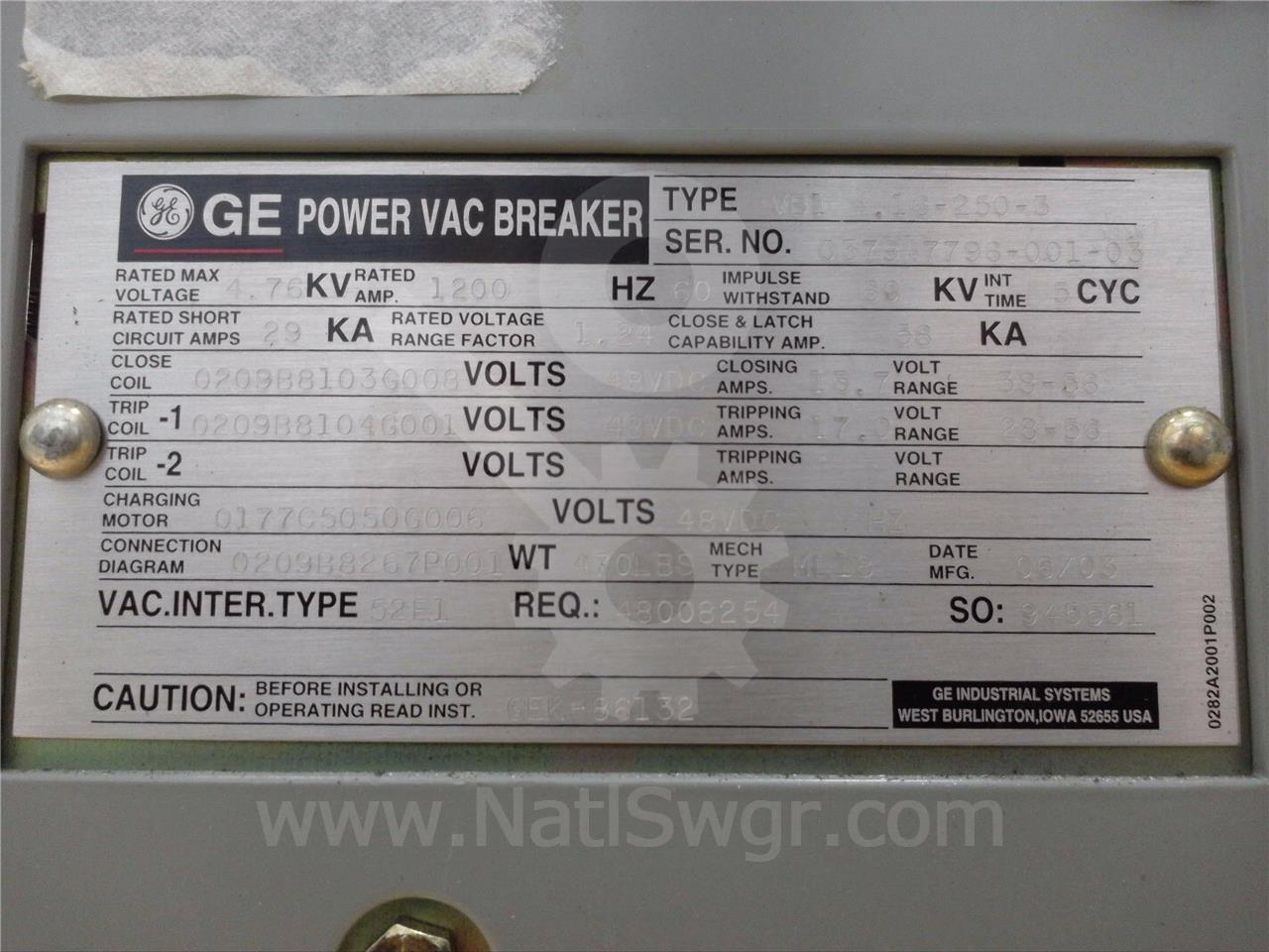 General Electric 1200A GE VB1 4.16-250-3 ML-18
