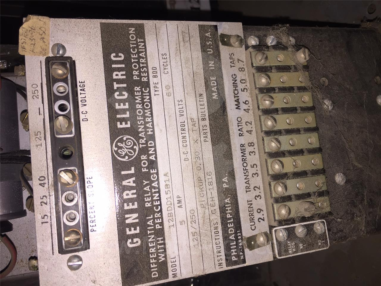 General Electric Ge Bdd Transformer Differential Relay Electromagnetic Computer