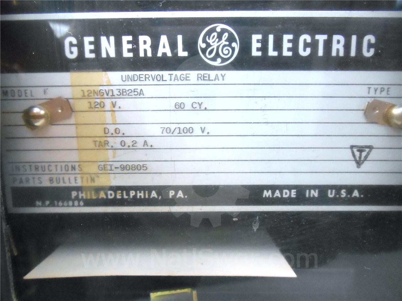 General Electric Ge Ngv Instantaneous Under Voltage Uv Relay