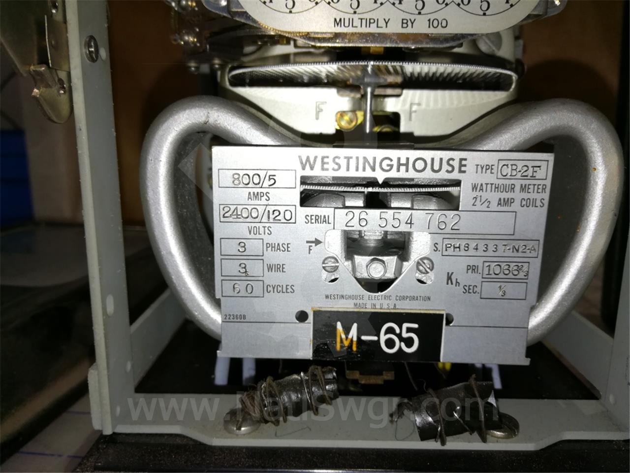 PH64337N2A Westinghouse CB-2F WATTHOUR METER RELAY 3 PHASE, 3 WIRE, 120VAC, 5A, PRI 1066 2/3, SEC 1/3