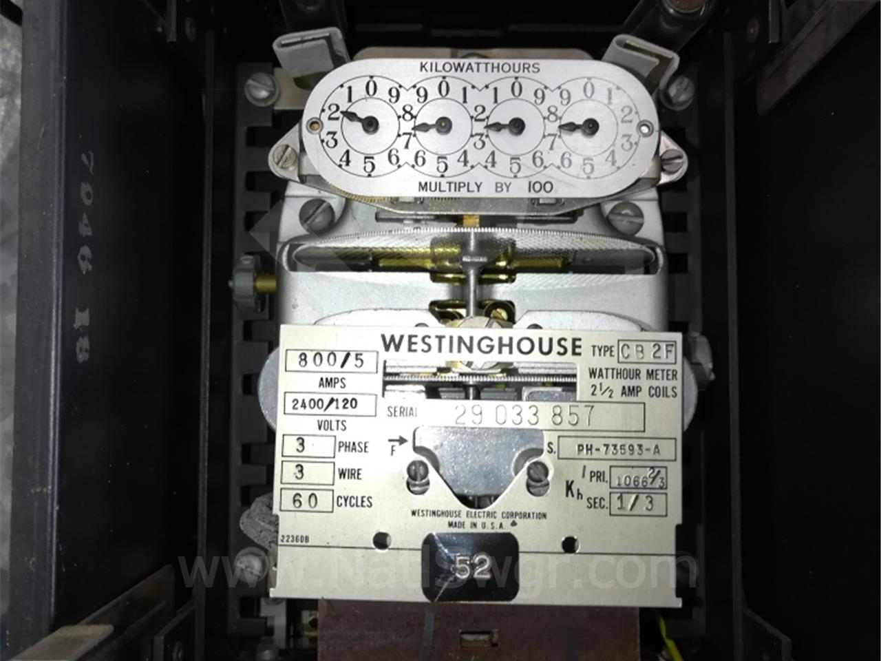 PH73593A Westinghouse CB-2F WATTHOUR METER RELAY