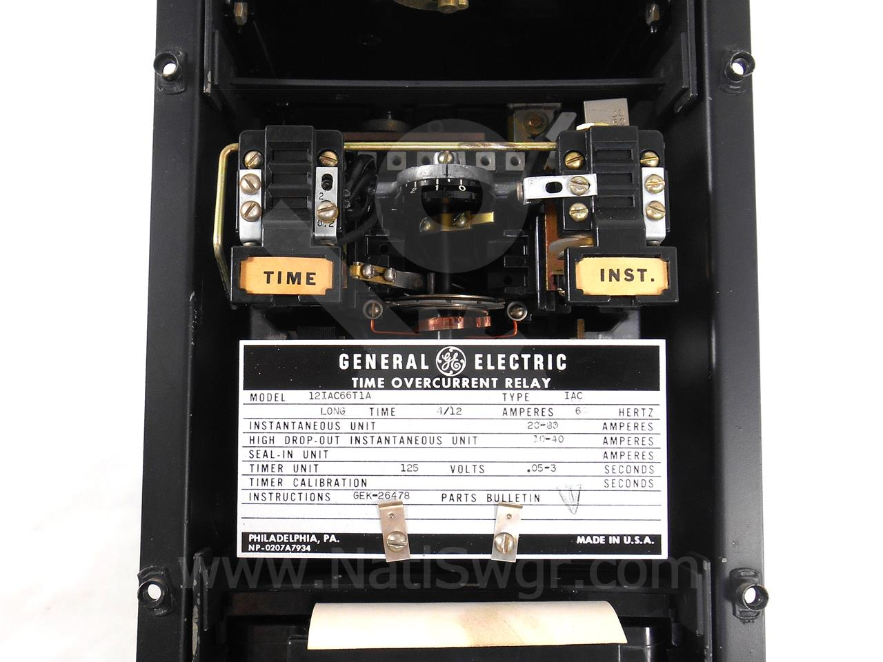 General Electric Ge Iac Time Over Current Relay