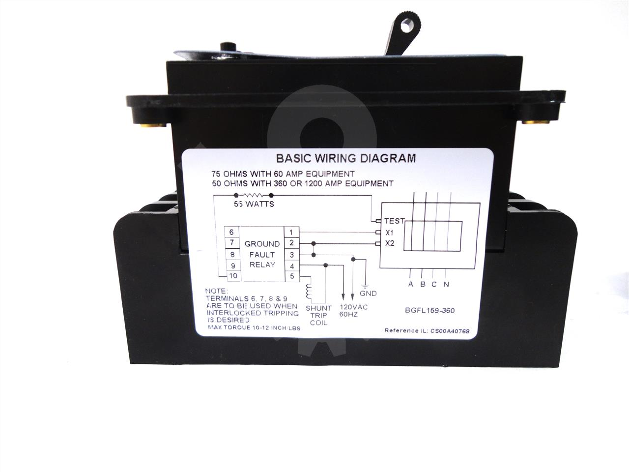 General Electric Ge Bgfl Ground Fault Relay New Torque 8 Wire Diagram