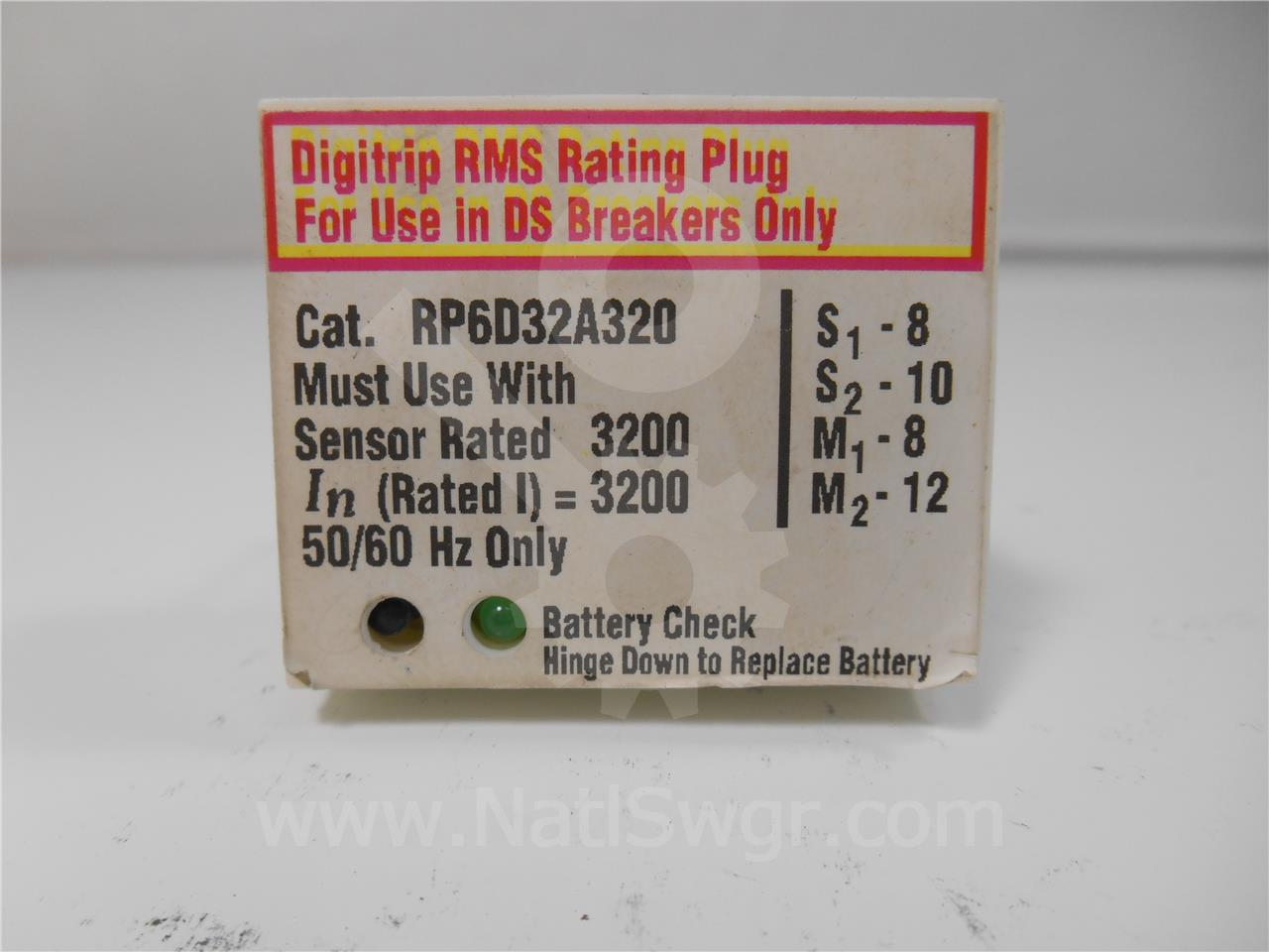 RP6D32A320 3200A Westinghouse RATING PLUG, 3200A CT FOR DIGITRIP 10 SERIES