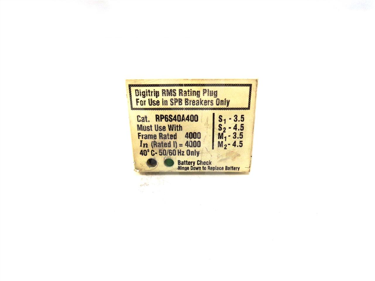 RP6S40A400 4000A Westinghouse RATING PLUG FOR DIGITRIP 10 SERIES, SPB