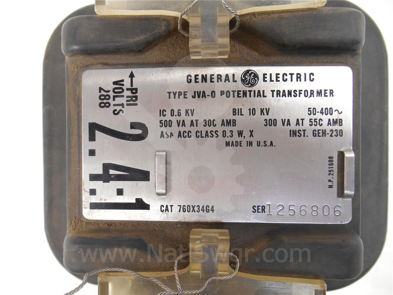 General Electric GE 2.4:1 JVA-0 POTENTIAL TRANSFORMER