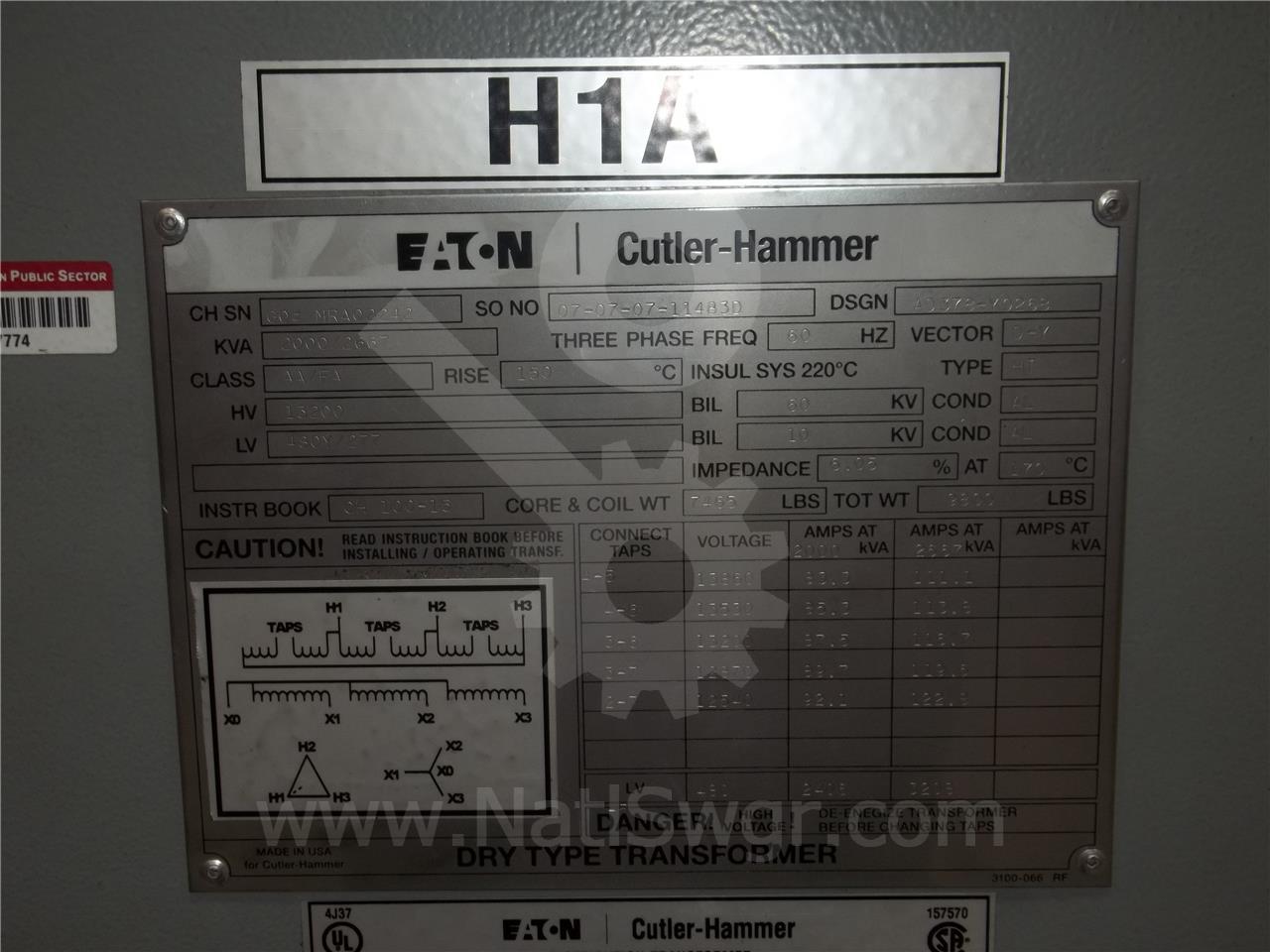 Westinghouse / Cutler Hammer CH 2000/2667KVA 13200:480Y/277 DRY 3PH POWER TRANSFORMER UNUSED SURPLUS