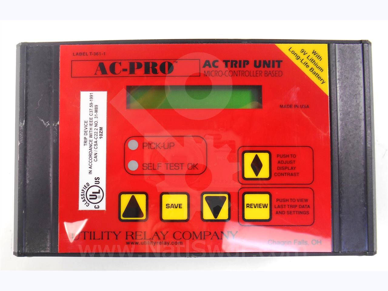 B-521H Utility Relay Company  AC PRO 1A SOLID STATE PROGRAMMER LSIG HORIZONTAL MOUNT, 9 VOLT LITHIUM BATTERY