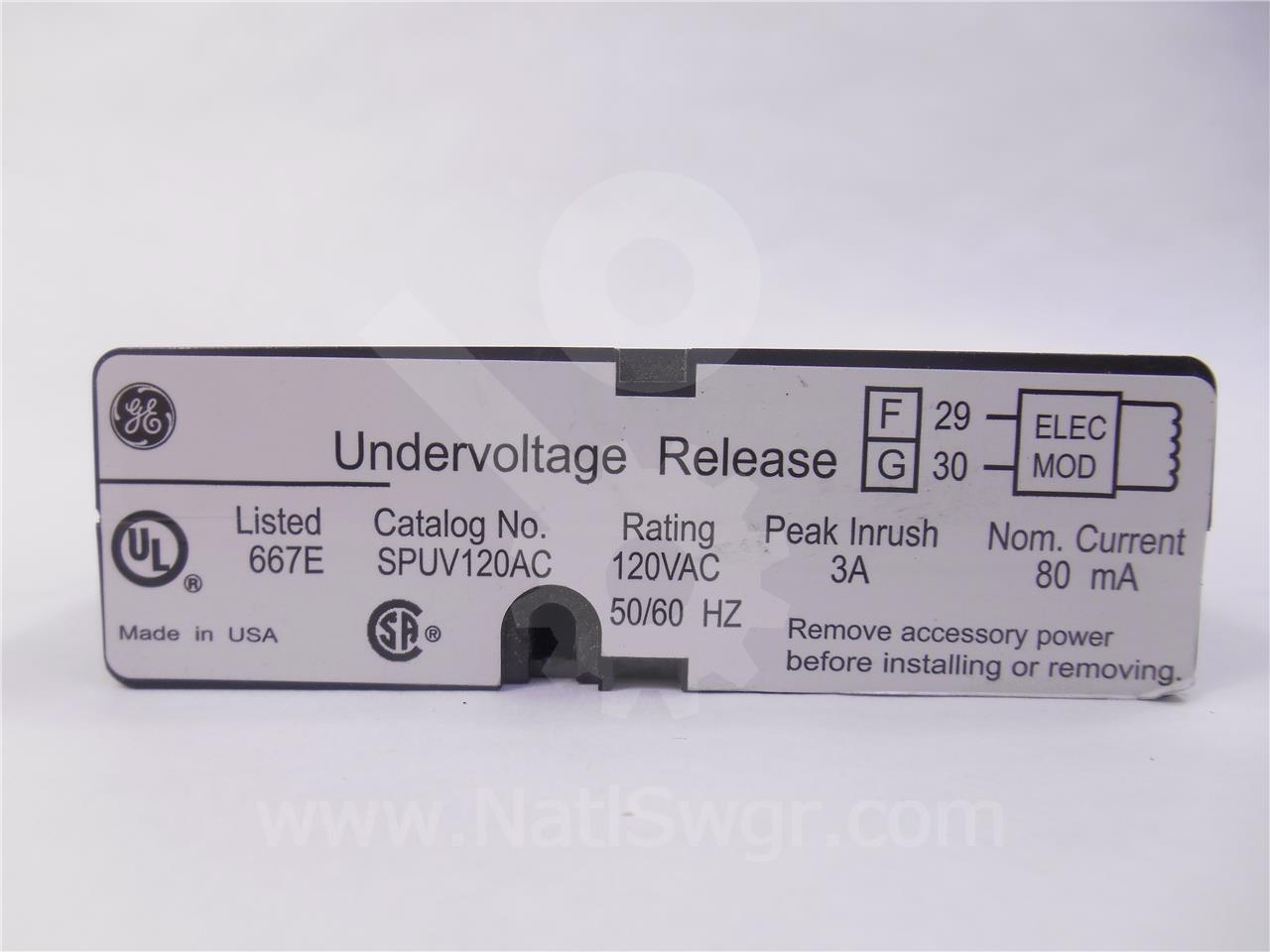 GE 120VAC UNDER VOLTAGE (UV) DEVICE ASSEMBLY MODULE, INST